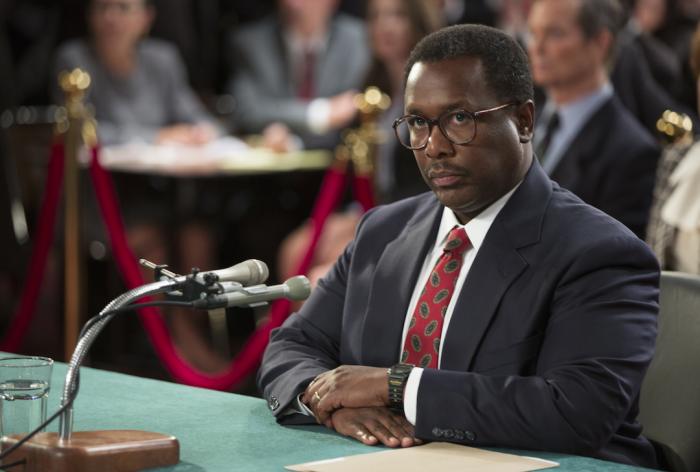 "This image released by HBO shows Wendell Pierce portraying Clarence Thomas in a scene from, ""Confirmation,"" premiering on HBO Saturday at 8 p.m. EDT. (Frank Masi/HBO via AP)"