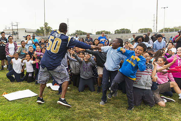Los Angeles Rams linebacker Cameron Lynch #50 during the Los Angeles Rams play 60 event on May 13, 2016 in Inglewood, Calif. (Los Angeles Rams/Ric Tapia)
