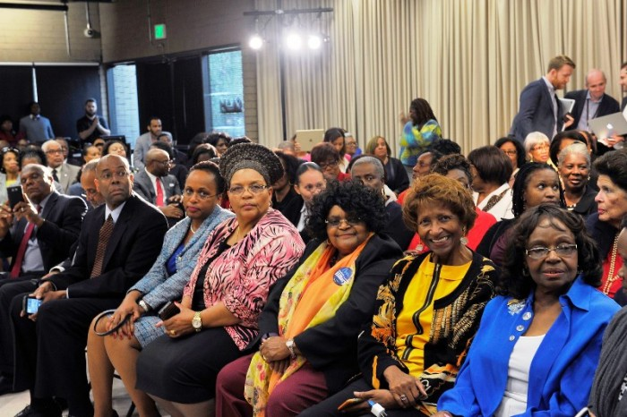 Pressley Burroughs, Administrative Judge Faith Mitchell, L.A. Fire Commissioner Jimmie Woods Gray attended the event where Hillary Clinton shared her presidential platform on issues such as mental health, gun control and equal pay Courtesy Photo