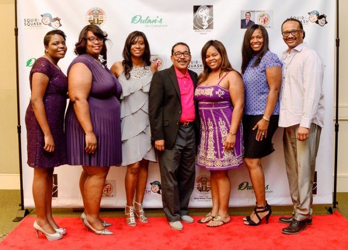 (Left-to-Right): Dorsey STEM Magnet and Mother Of Many staff -: Imani Bradford, Johonna Gay, Daphne Bradford, Herb J. Wesson, Jr., Loretta Brown, Akeba Jackson and Dr. Sean Gaston Photo credit: Mother Of Many