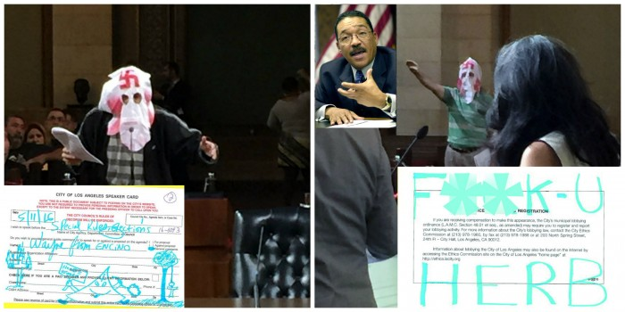 Wayne Spindler (in hood) submitted a City Council speaker's card (left inset) on May 11 covered with racist language and images directed at Council President Herb Wesson. Spindler often wears a KKK mask and delivers threatening comments and notes (right bottom insert) during City Council meetings.