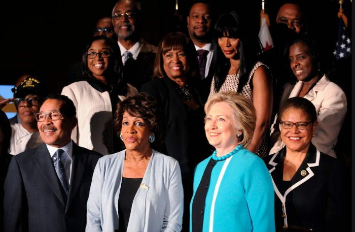 L.A. Council President Herb Wesson, U.S. Congresswoman Maxine Waters and U.S. Congresswoman Karen Bass sponsored the event to introduce Hillary Rodham Clinton (2nd from right) to L.A.'s African American leaders. (Valerie Goodloe Photo)