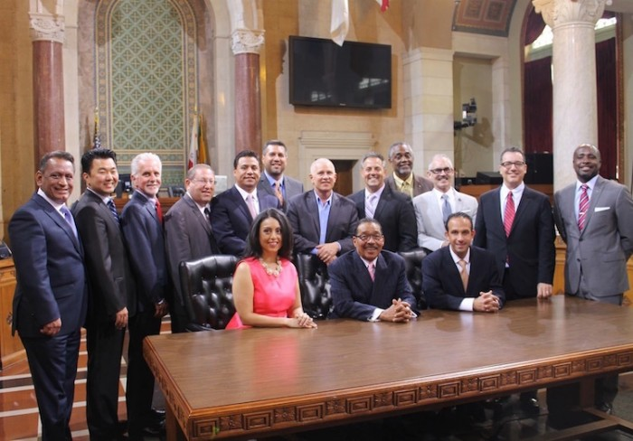 The Los Angeles City Council includes (from le , seated) Assistant President Pro Tempore Nury Mar nez, President Herb Wesson, President Pro Tempore Mitch Englander, (standing) Coun- cilmembers Gilbert Cedillo, David Ryu, Paul Krekorian, Paul Koretz, Jose Huizar, Felipe Fuentes, Mike Bonin, Joe Buscaino, Curren Price, Mitch O'Farrell, Bob Blumen eld and Marqueece Harris-Dawson. The City Council meets Tuesdays, Wednesdays and Fridays at L.A. City Hall. The  rst Friday of each month, they meet at Van Nuys City Hall in San Fernando Valley
