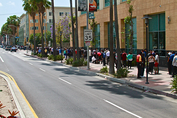 The line for the hiring event spanned for several blocks (Photo by E. Mesiyah McGinness)