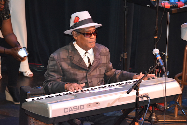 Rudy Copeland, long-time friend and band member performing tribute to Johnny G. (Photo by Pat Hedricks Munson)