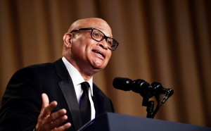 "In this April 30, 2016 file photo, Larry Wilmore speaks at the annual White House Correspondents' Association dinner in Washington. Wilmore says his ""tone didn't fit the room"" at the White House Correspondents Association dinner but believes his use of the term ""n---a"" to address President Obama may open an important dialogue for the country. The Comedy Central host said in an interview Tuesday, May 3, that he's willing to take the heat for his performance in Washington Saturday. (AP Photo/Susan Walsh, File)"