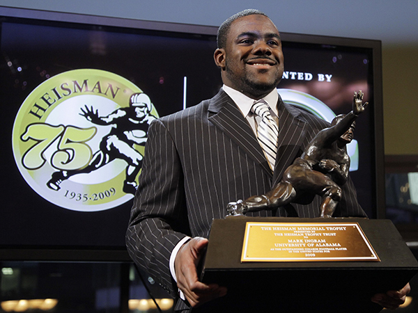 Alabama's Mark Ingram poses for a photo during a press conference after winning the Heisman Trophy award on Dec. 12, 2009, in New York. (AP Photo/Julie Jacobson)