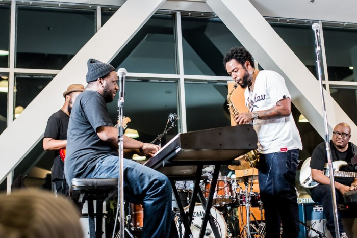 Robert Glasper and Terrace Martin perform a tribute to Miles Davis on May 19 at an event hosted by Baldwin Hills Crenshaw in partnership with The Jazz Creative and All Music Television. (Photo credit: DVR Productions)