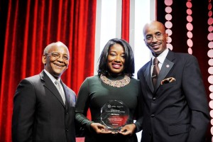 Noel Massie (Board Chair LAUL and US Operations Manager for UPS), Erika McCall (Assistant Director of Manifest Your Destiny Foundation and TTN Honoree) and Nolan Rollins (President of the Los Angeles Urban League) Photos by Ian Fox (Foxx Media) & Valerie Goodloe (Cover Up Photos)
