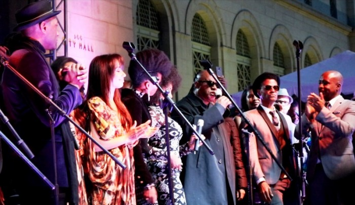 Aloe Blacc, Stevie Wonder, Eric Benet, Marqueece Dawson and more on stage to pay tribute to Prince on the steps of City Hall Photo Credit: Brittany K. Jackson