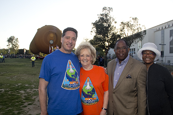 (From left-to-right): California Science Center President Jeffrey Rudolph, Lynda Oschin, wife of the late Samuel Oschin, Supervisor Mark Ridley Thomas and Avis Ridley Thomas.