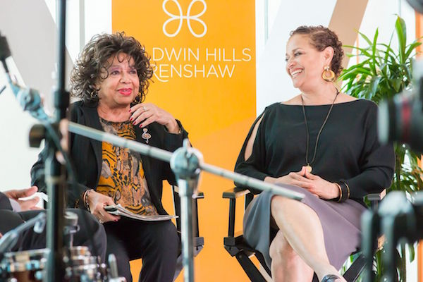 Frances Davis, first wife of Miles Davis (left) and Debbie Allen of the Debbie Allen Dance Academy (right) at a celebration honoring internationally renowned music icon Miles Davis. (Photo credit: DVR Productions)
