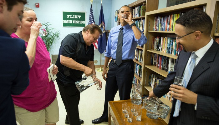 President Barack Obama sips filtered water from Flint following a roundtable on the Flint water crisis at Northwestern High School in Flint, Mich., May 4, 2016. (Pete Souza/The White House)