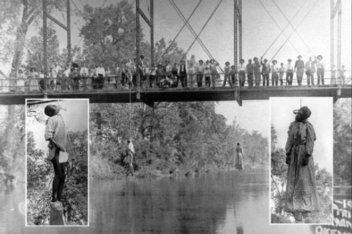 The photograph included here was taken May 25, 1911 in Okemah, Oklahoma. Laura Nelson, a Black woman age 35, was lynched along with her sixteen year-old son after having been taken by a riotous mob from their jail cell.  The pair are shown hanging dead from a bridge This photograph was used to create postcards to distribute throughout the country.