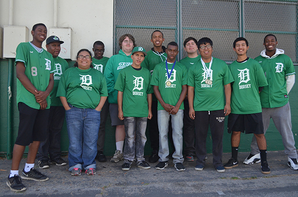 Members of the Dorsey Baseball team pose with the players of Team Prime Time (Amanda Scurlock/L.A. Sentinel)