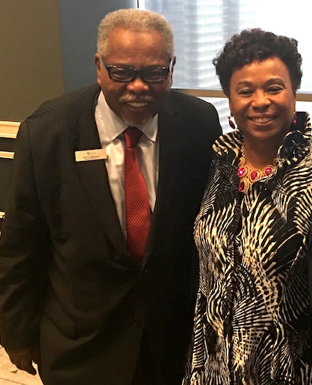 Congresswoman Barbara Lee and Town Hall Los Angeles Vice Chair Carl E. Dickerson at the City Club in Downtown L.A. June 27. (Photo by Charlene Muhammad)