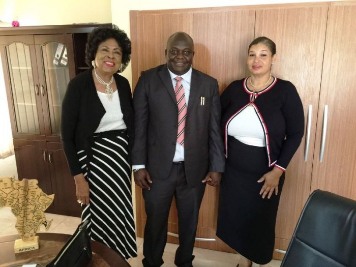 (Left) the honorable Diane E. Watson, (center) the Consulate of the Central African Republic, Ambassador Tochil Nwaneri, and (right) Stephanie Grayson aid to Ambassador Watson