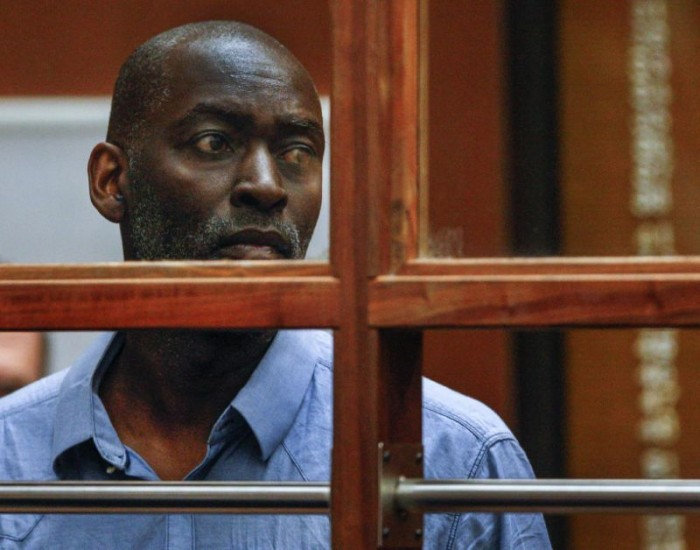 "In this May 22, 2014 file photo, actor Michael Jace appears in court in Los Angeles. Jace's murder trial began Monday, May 23, 2016, in downtown Los Angeles. The actor best known for playing a police officer on the FX series ""The Shield"" was convicted of second degree murder for the shooting death of his wife in their Los Angeles home on May 19, 2014. (AP Photo/David McNew, Pool, File)"