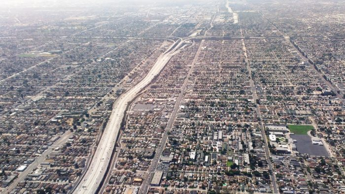 Aerial shot of the110 and the 105 freeways in South L.A.