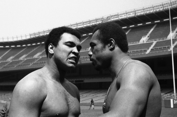 World heavyweight boxing champion Muhammad Ali, left, faces up to Ken Norton, one of the two men ever to defeat all on Thursday, June 5, 1976 at New York?s Yankee Stadium after announcing their third meeting in a title bout. The two will meet on September 28 championship match at the stadium, first of such since Ingemar Johansson knocked out champion Floyd Patterson in 1959. (AP Photo/ Marty Lederhandler)