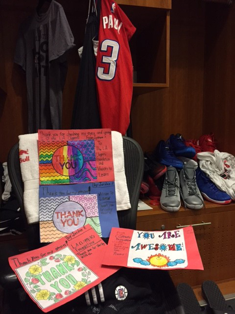 Students create thank you cards for the Clippers players (Courtesy of Vision to Learn)