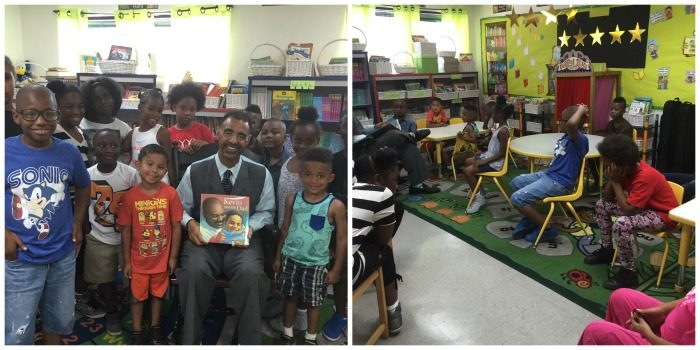 Danny J. Bakewell, Jr. Executive Editor of The Los Angeles Sentinel spends time with the students at Marcus Garvey School reading to the students and engaging in conversation with them about the importance of reading, doing their best in school and giving back to the community.