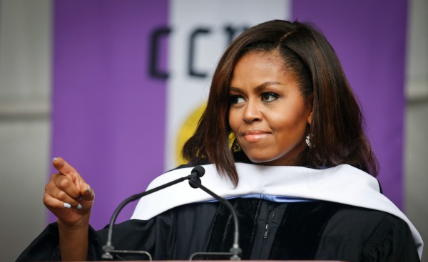 First Lady Michelle Obama speaks to members of the class of 2016 in her final commencement speech as first lady, Friday June 3,2016,during commencement at CCNY in New York. (AP PHOTO/BEBETO MATTHEWS )