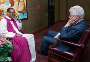 "Church of God in Christ, Inc. Presiding Bishop Charles E. Blake, pastor of West Angeles COGIC, meets with former President William ""Bill"" Clinton prior to the June 5 worship service."