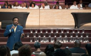 "More than 3,500 people participated in the Orlando Memorial Services at Faithful Central Bible Church on June 19. The services included a candle and photo of each victim and the 2-year old-boy killed by the alligator. The theme was ""Time for Rejoicing; Time for Mourning."" Bishop Kenneth Ulmer, pastor, said, ""We spent time in focused prayer for the fathers and families who were in mourning following the terrorist attack. The most challenging time of prayer was for the family of the shooter, in response to the exhortation to 'pray for your enemies'"" (photo by Kendan)"