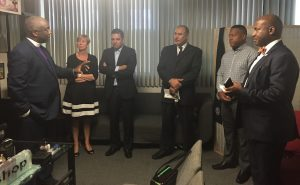 From left are Bishop W. Todd Ervin, Congresswoman Janice Hahn, Mayor Robert Garcia, Tarek Mohammed, Donte' Morrison and Assemblymember Mike A. Gipson