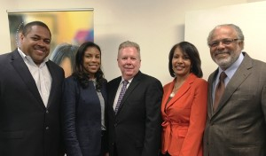 Business owner Curtis Fralin with St. Anne's leadership: trustee Terri Holoman, president and CEO Tony Walker, Chief Financial Officer Kyla Lee and board member Darrell Brown.