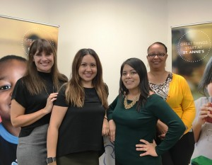St. Anne's family-based services staff, who provide crisis intervention, therapy and support to at-risk families: Jamie Cascia, Jessica Almeida, Sandra Rebolledo and Pam Thompson-Dunn.