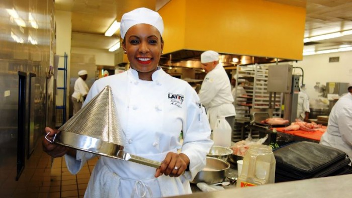 "Nakisha ""Nikki"" McFadden is graduating from the Los Angeles Trade-Technical College's Culinary School, the longest-running culinary arts program in the nation. Photo by Bill Britt"