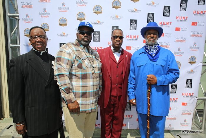 Minister Tony Muhammad and Reverend Alfreddie Johnson (World Literacy Crusade/UPFest) with OG Crips during the historic gang unity meeting at Muhammad Mosque #27 on July 17. (Photo by Malcolm Ali for Sentinel)