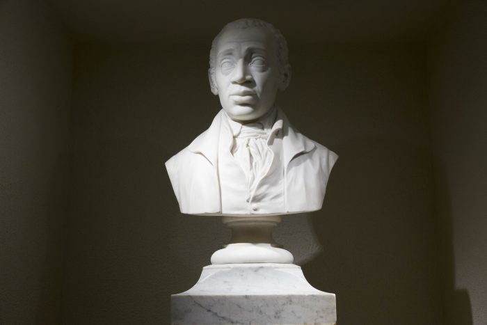 A bust of Bishop Richard Allen stands at Mother Bethel African Methodist Episcopal Church in Philadelphia, Wednesday, July 6, 2016. The church marks its 200th anniversary in the city where it was founded by a former slave. (AP Photo/Matt Rourke)