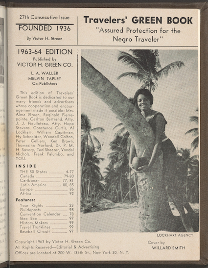 This updated photo courtesy of The New York Public Library shows a copy of a page from The Travelers' Green Book from 1963. Black travelers for decades needed a guide known as the Green Book to help located the few motels and restaurants that would serve them. Now a writer is hoping to bring attention to the businesses along the historic Route 66 that once provided safe havens for black travelers who braved the road for simple family vacations. (The New York Public Library via AP)