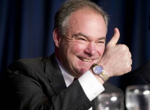In this Feb. 4, 2016, file photo, Sen. Tim Kaine, D-Va., gives a 'thumbs-up' as he takes his seat at the head table for the National Prayer Breakfast in Washington (AP Photo/Pablo Martinez Monsivais, File)