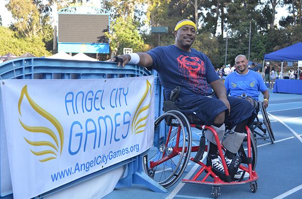 Delbert Cannon played in a scrimmage wheelchair basketball game at the Angel City Games (Amanda Scurlock/ L.A. Sentinel)