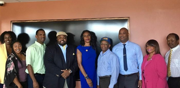 President-elect Camille Mayo, (in blue dress) and Vice President-elect Douglas Robinson, (in blue blazer) are flanked by Corresponding Secretary and Public Relations Coordinator-elect Zale Johnson (in green shirt), Parliamentarian Ayanna Spivey (in flowered blouse), Recording Secretary Keisha Martin (in yellow blazer), Financial Secretary-elect Willie Patterson (in Southern University hat), Social Media Coordinator-elect Alex Wade (in blue tie), Chaplain-elect Lois C. Hale (in pink suit) and Historian-elect Ronald Samuel (in gold tie).  Alice B. Grigsby, Treasurer-elect, is not pictured.