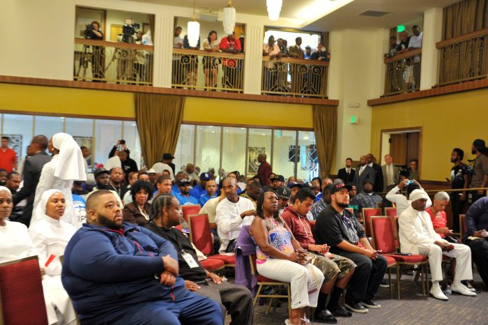 Nation of Islam/ hunt us not today united hoods and gangs nation meet at the church of scientology on Sunday July 17, 2016. (Valerie Goodloe/ L.A. Sentinel)