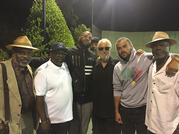 L-R: Former Senator Rod Wright, Cedric The Entertainer, The Game, Danny Bakewell, Sr., Jesse Williams, Glynn Turman (Photo by Alonzo Neal for Sentinel)