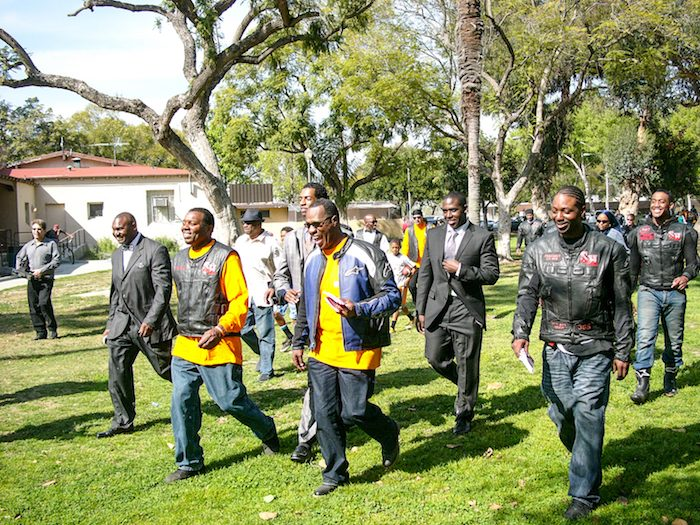 Minister Tony Muhammad (center-blue/black jacket), and (l) Bro. Omar and members of the Street Heat Motorcycle Club, and members of the Fruit of Islam on their way to United in Peace Festival (UPFest) following a So. Cal. Peace Ride. (Courtesy of UPFest)