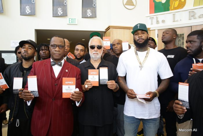 (L-R) Rap artist Problem;, Minister Tony Muhammad, Danny Bakewell, Sr., radio host Big Boy and rap artist The Game (photo by Malcolm Ali)