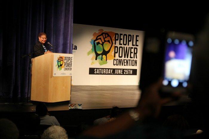 Congresswoman Karen Bass addresses the crowd as the keynote speaker