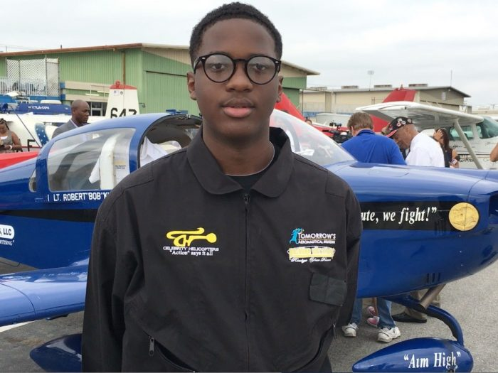 Isaiah, who is a 10th-grader in CUSD's Thurgood Marshall Independent Study home-schooling program, took flight from Tomorrow's Aeronautical Museum (TAM) at the Compton/Woodley Airport, Tuesday, July 5, on his way to becoming the youngest African-American to fly an airplane around the continental United States.