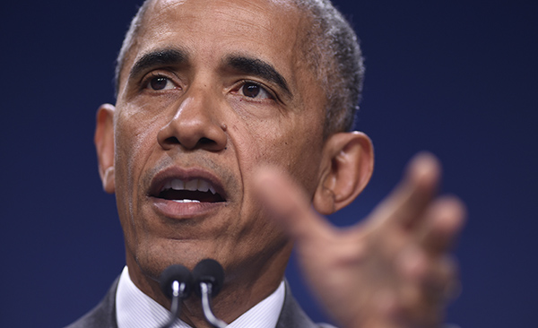 President Barack Obama speaks during a news conference at PGE National Stadium in Warsaw, Poland, Saturday, July 9, 2016. Obama is in Warsaw attending the NATO Summit. (AP Photo/Susan Walsh)