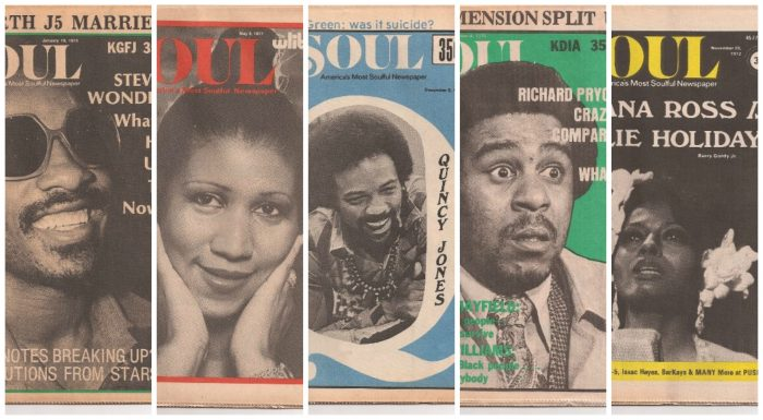 Pictures of past Soul magazine covers from left-to-right: Stevie Wonder, Aretha Franklin, Quincy Jones, Richard Pryor, and Diana Ross (courtesy of Soul Newspaper)