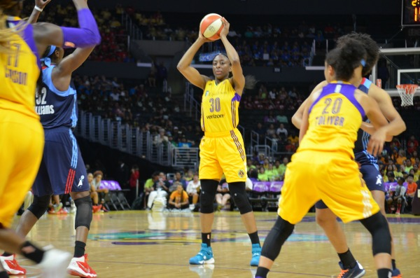 Forward Nneka Ogwumike beat her season high of 32 points with 38 points against the Atlanta Dream on Thursday June 30, 2016 (Amanda Scurlock/L.A. Sentinel)