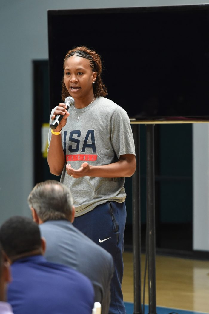 LOS ANGELES, CA - JULY 25: of the USA Basketball National Team during the Leadership Together: A conversation with our sons & daughters at Challengers Boys and Girls Club on July 25, 2016 in Los Angeles, California. NOTE TO USER: User expressly acknowledges and agrees that, by downloading and/or using this Photograph, user is consenting to the terms and conditions of the Getty Images License Agreement. Mandatory Copyright Notice: Copyright 2016 NBAE (Photo by Andrew D. Bernstein/NBAE via Getty Images)