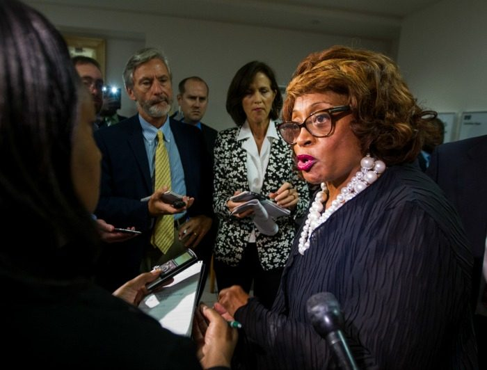 In this Aug. 13, 2015 file photo, Rep. Corrine Brown, D-Fla. talks with the press in Tallahassee, Fla. Brown has been indicted after a federal investigation into a fraudulent charity with ties to the congresswoman. (AP Photo/Mark Wallheiser, File)